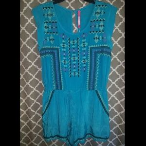 Plenty by Tracy Reese NWT blue beaded romper